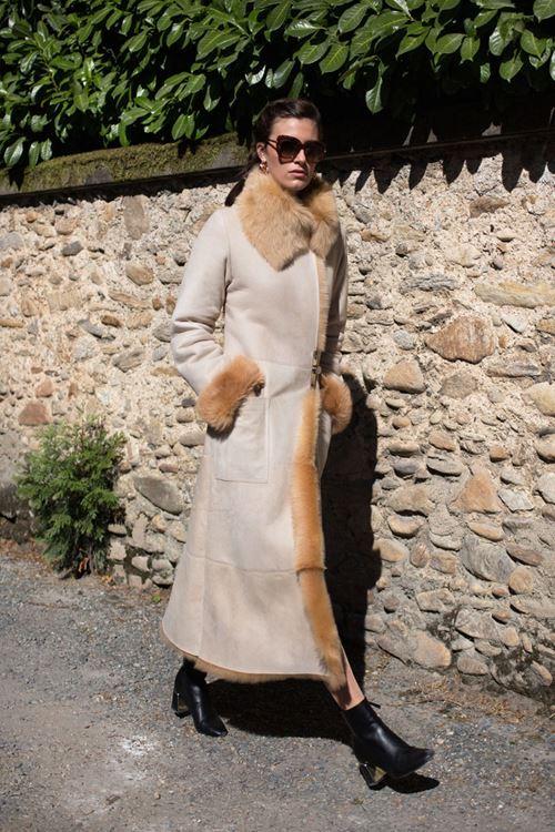 Manteau en peau de mouton retourne femme