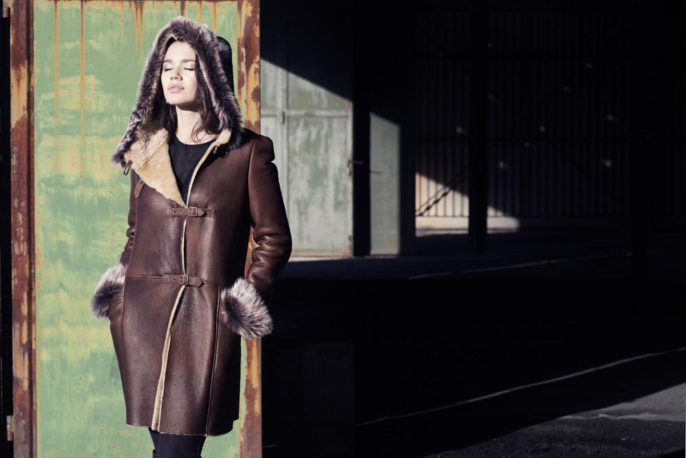 Manteau veste peau retournee femme