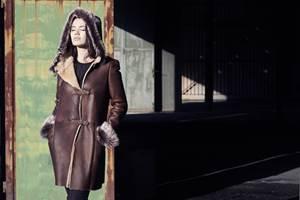 Manteau 3 4 cuir femme